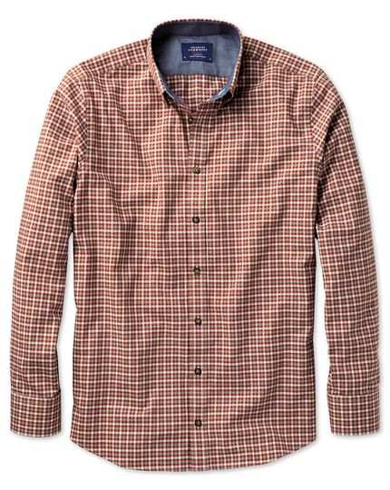 Slim fit button-down soft cotton rust multi check shirt