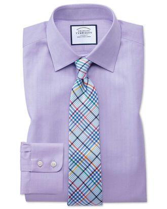 Classic fit fine herringbone lilac shirt