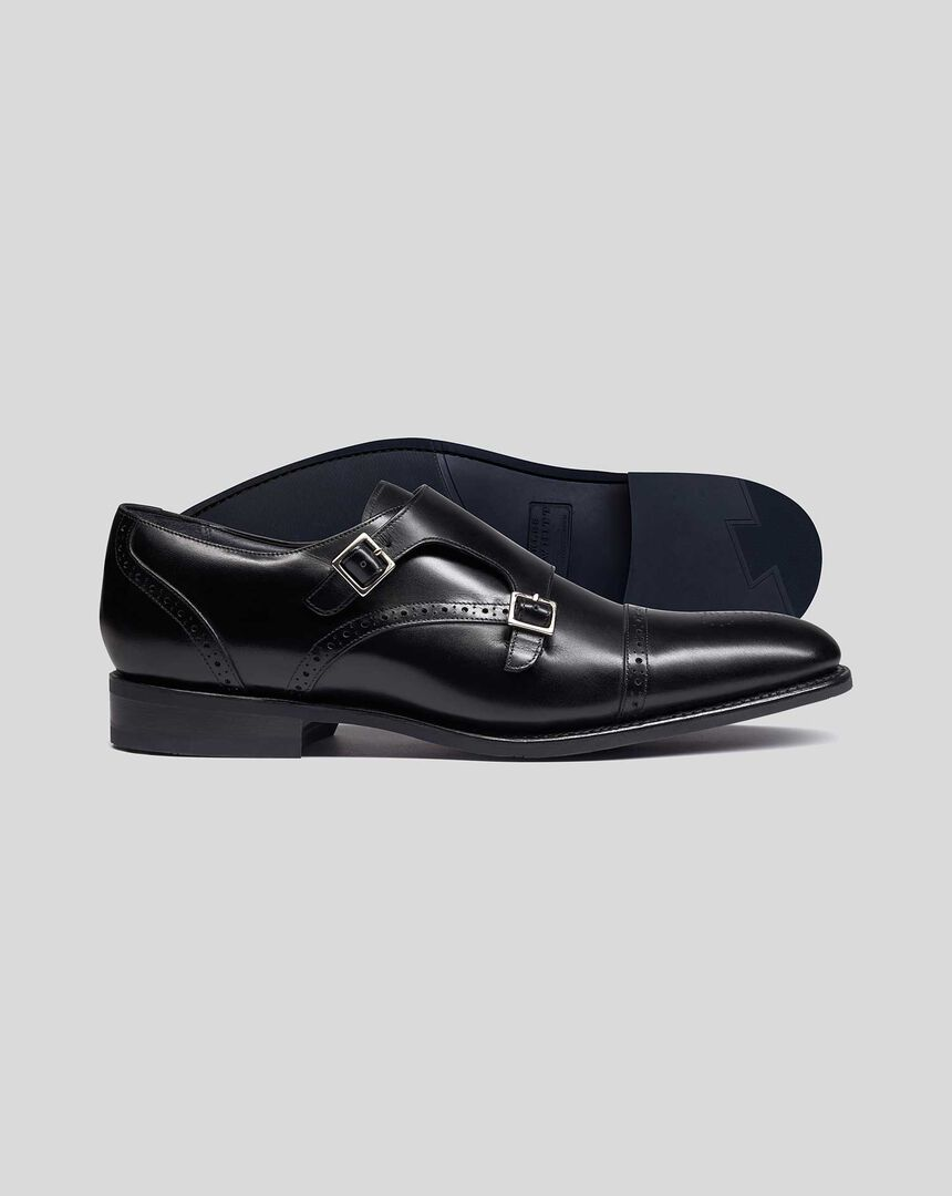 Goodyear Welted Double Buckle Monk Performance Shoes - Black