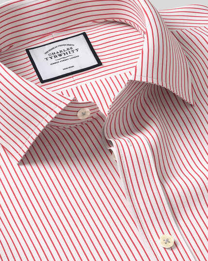 Classic Collar Non-Iron Dobby Stripe Shirt - Red