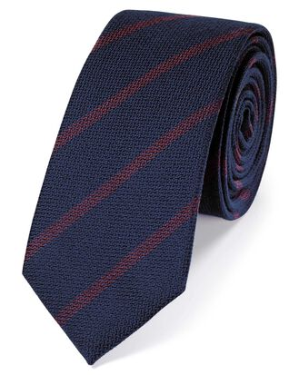 Navy wool and silk stripe slim tie