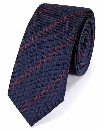 Navy wool and silk stripe slim tie