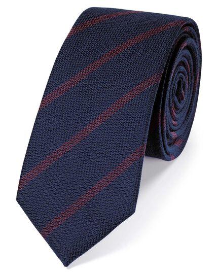 Schlichte Krawatte aus Wolle und Seide mit Streifen in Marineblau
