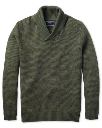 Olive shawl collar jacquard sweater