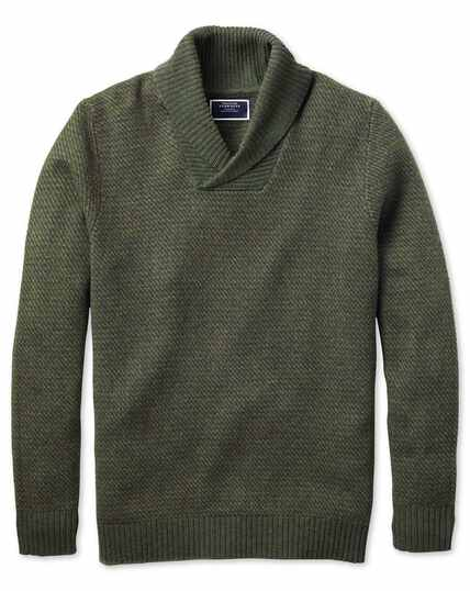Olive shawl collar jacquard sweater