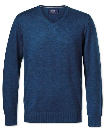 Merino Pullover mit V-Ausschnitt in Mittelblau