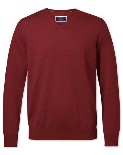 Dark red merino v-neck jumper