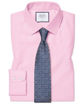 Chemise rose en twill slim fit sans repassage