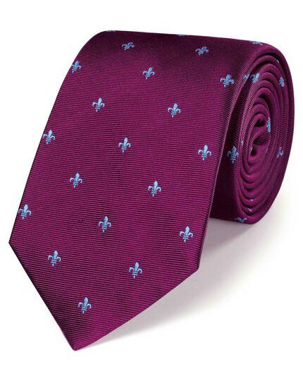 Burgundy silk fleur-de-lys classic tie