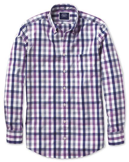 Vorgewaschenes bügelfreies Slim Fit Cool Hemd mit Karos in Violett & Bunt