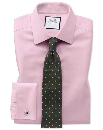 Extra slim fit non-iron pink arrow weave shirt