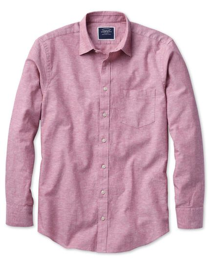 Slim fit cotton linen pink plain shirt