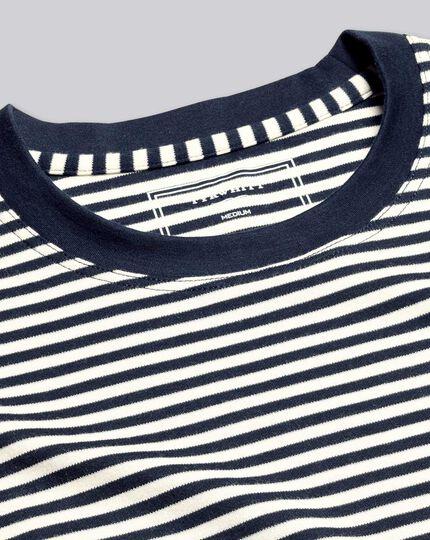 Smartes Tyrwhitt Jersey-T-Shirt mit Streifen - Marineblau&Ecru
