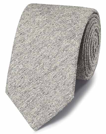 Grey silk Donegal English luxury tie