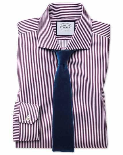Super slim fit non-iron spread collar berry twill stripe shirt