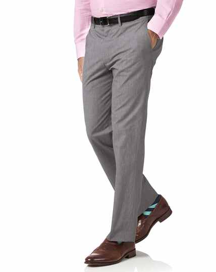 Grey slim fit puppytooth cotton pants