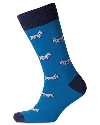 Blue dog socks
