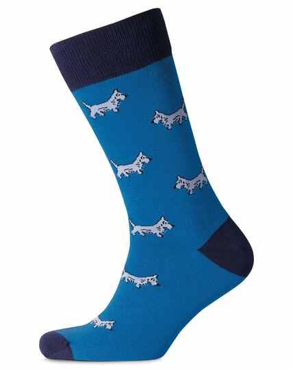 Chaussettes bleues à motif chiens