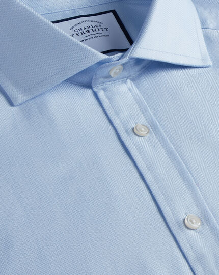 Slim fit cutaway cotton stretch with TENCEL™ blue shirt