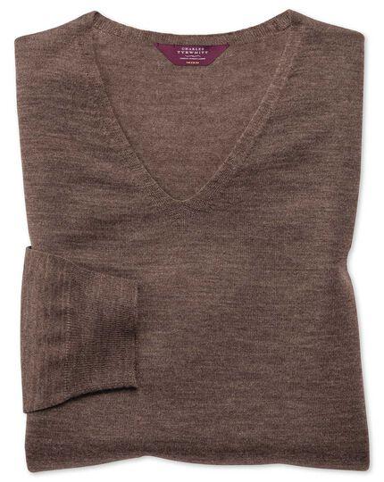 Brown extrafine merino seamless v-neck sweater
