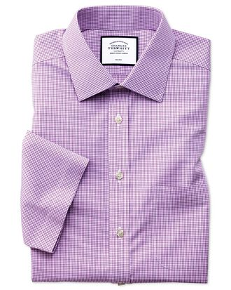 Classic fit non-iron natural cool short sleeve pink check shirt