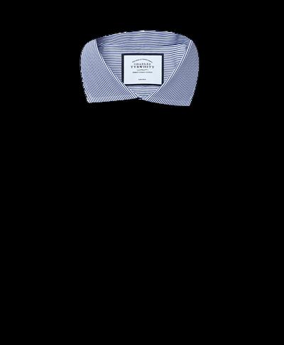 Bügelfreies Slim Fit Hemd mit Haifischkragen und Bengal-Streifen in Marineblau