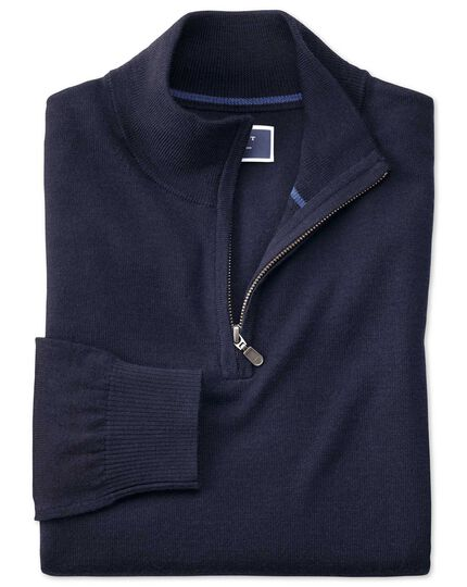 Navy merino wool zip neck jumper