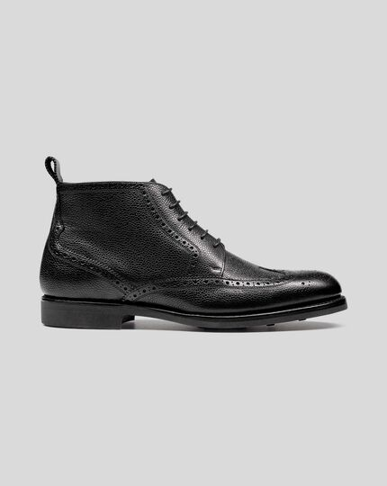 Goodyear Welted Brogue Boot - Black