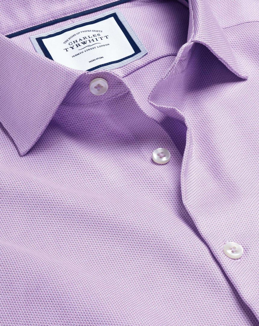 Business Casual Collar Non-Iron Stretch Texture Shirt - Lilac