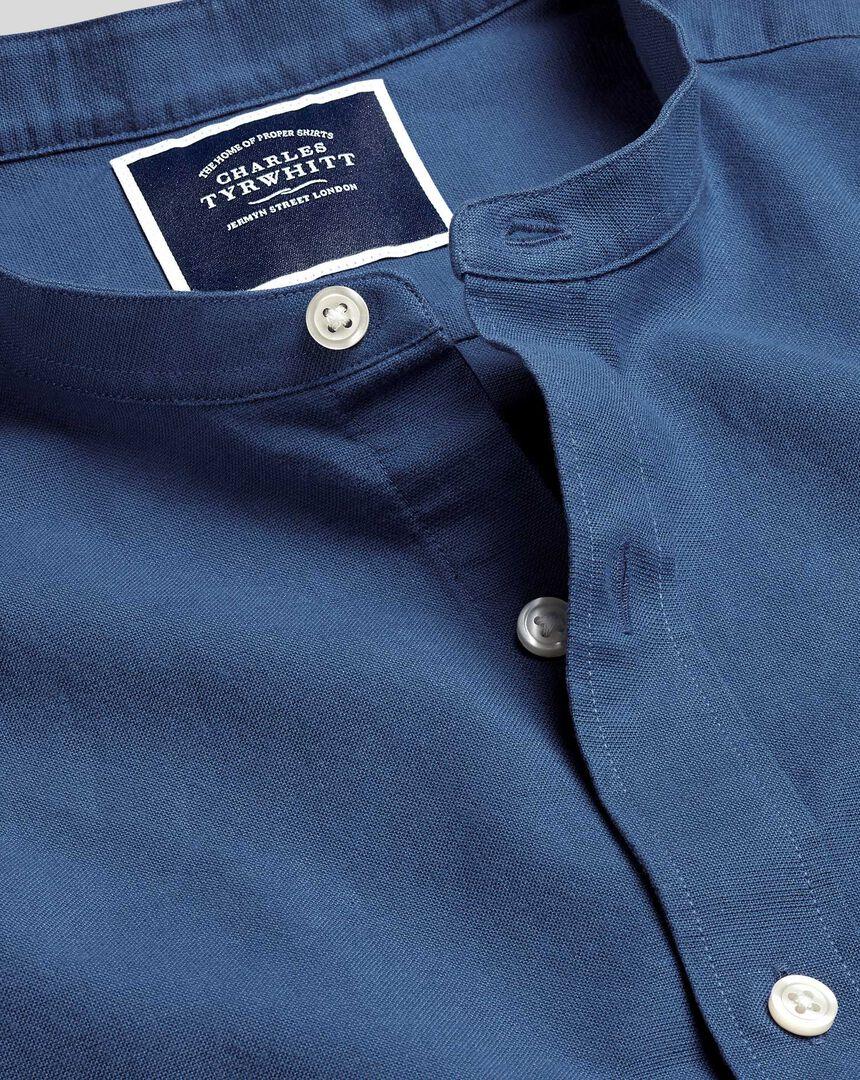 Kragenloses Hemd aus Baumwoll und Leinen - Blau