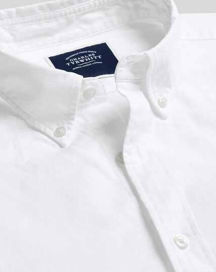 Vorgewaschenes Oxfordhemd mit Button-down-Kragen - Weiß