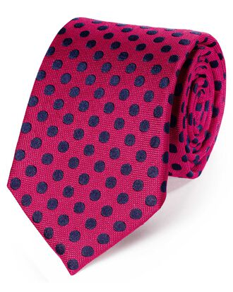 Pink and navy silk large spot classic tie