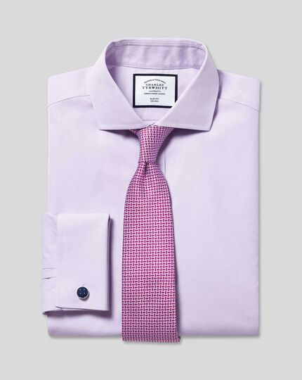Spread Collar Non-Iron Poplin Shirt - Lilac