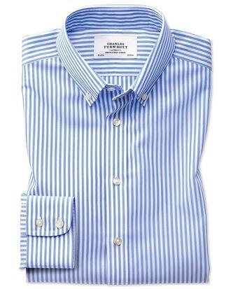 Chemise bleu ciel à carreaux et rayures extra slim fit sans repassage à col boutonné