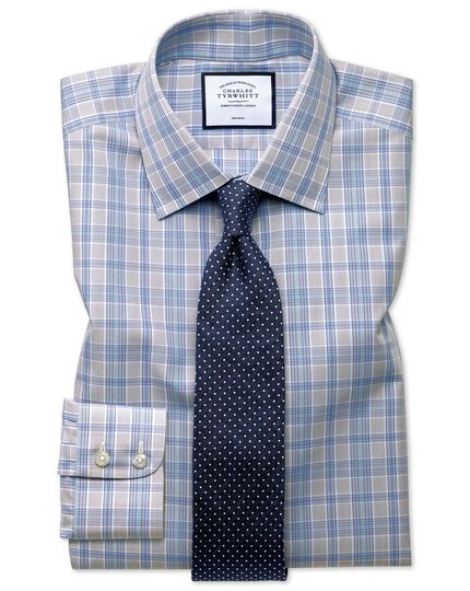 Slim fit non-iron Prince of Wales grey and aqua shirt