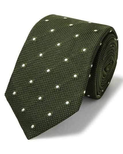 Cravate de luxe en jacquard de grenadine italienne olive à pois