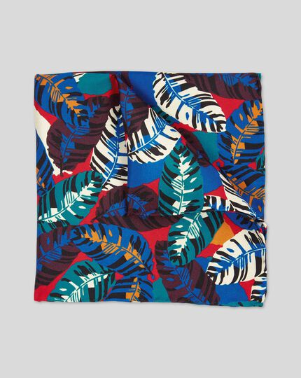 Tropical Leaf Print Pocket Square - Red Multi