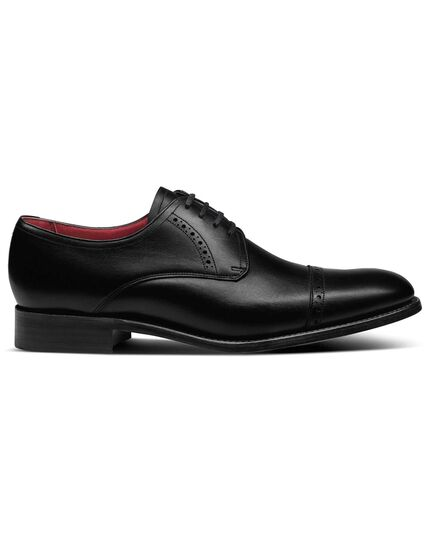 Black made in England Derby toe cap shoes