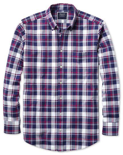 Vorgewaschenes Classic Fit Oxfordhemd mit Karomuster in Weiß und Rosa