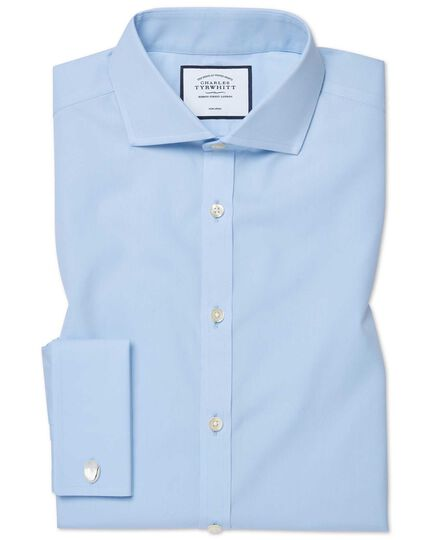 cd0b8867 Slim fit sky blue non-iron twill cutaway collar shirt | Charles Tyrwhitt