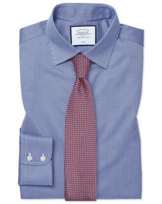 Bügelfreies Slim Fit Hemd in Königsblau mit Hahnentritt
