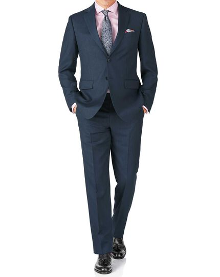 Blue classic fit twill business suit jacket