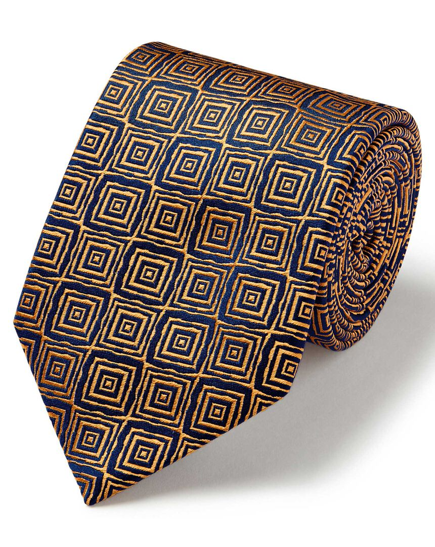 Gold and navy square geometric English vluxury tie