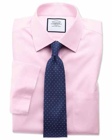 Bügelfreies Classic Fit Kurzarmhemd aus Popeline in Rosa