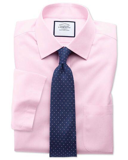 Classic fit non-iron poplin short sleeve pink shirt