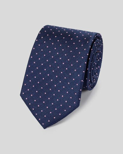 Stain Resistant Silk Textured Spot Classic Tie - Navy & Pink