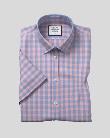 Classic Collar Non-Iron Tyrwhitt Cool Poplin Short Sleeve Check Shirt - Blue & Orange