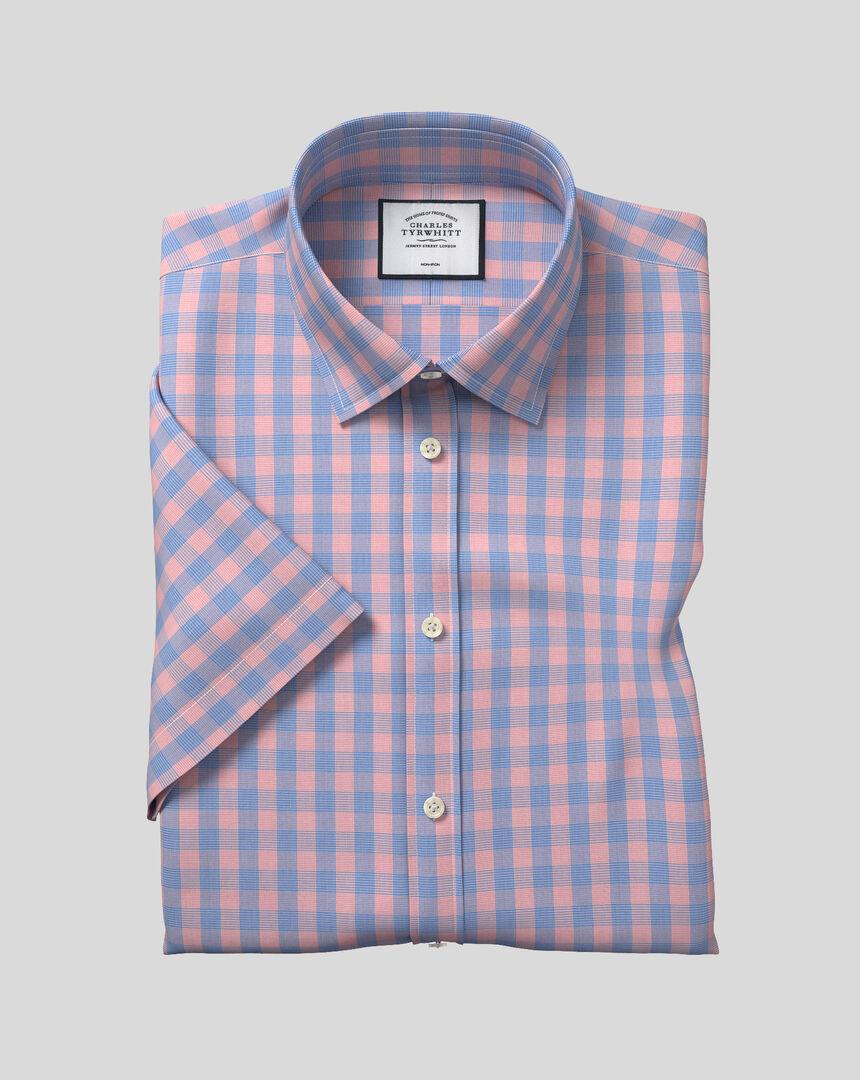 Classic Collar Non-Iron Tyrwhitt Cool Poplin Short Sleeve Check Shirt - Blue & Orange
