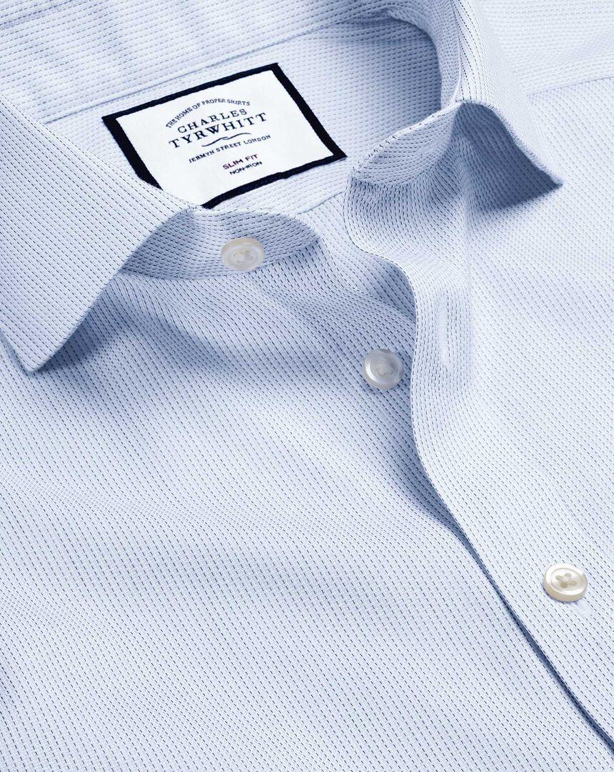 Spread Collar Non-Iron Cotton Stretch Oxford Stripe Shirt - Sky