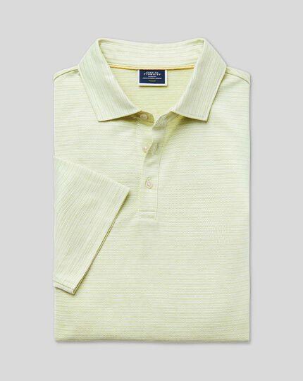 Herringbone Cotton Linen Polo - Apple Green